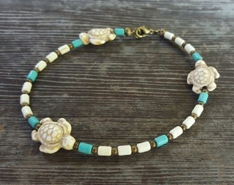 White Turtle Bead Anklet, Blue, White and Copper Beaded Anklet, Brass Extension Chain, Mediterranean Style Boho-Chic Anklet, Cylinder Beads