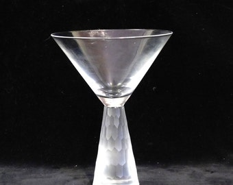 Three frosted and faceted Martini glasses