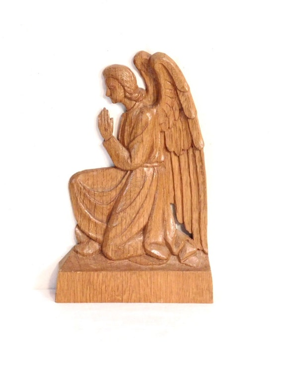 Woodcarving of praying angel bas relief german oak