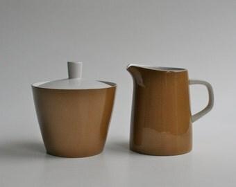 Mikasa Cera-Stone lidded sugar bowl and jug - brown and white - made in Japan