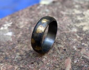 Wedding Ring Oxidized Silver Mixed Metals Men's Wedding Ring Black Silver Ring Custom Ring Wide wedding band Women's ring Men's ring Unique