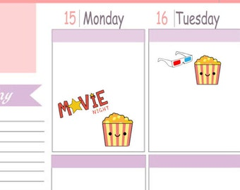 Kawaii Itty Bitty or ECLP Size Movie Night Planner Stickers To Use With Erin Condren Planner