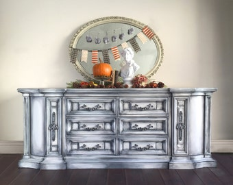 SOLD - White Dresser, Shabby Chic Dresser, Vintage, Buffet, Painted Furniture, Hand Painted, Romantic, Boho, Cottage