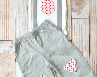Baby Boy Valentine's Day Outfit, Tie Bodysuit with Heart, Gray Pants, , Gray and Red, Be Mine, My First Valentine's Day