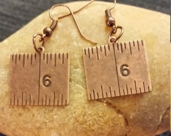 Copper Ruler Earrings
