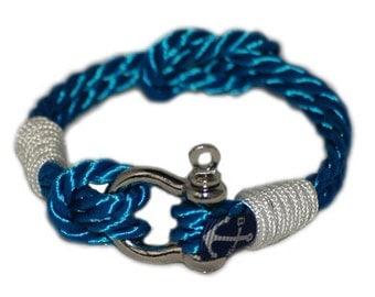 Mens Shackle Bracelet - Twisted Rope Bracelet - Nautical Bracelet -  Sailor Bracelet