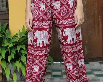 Bohemian Pants /Harem Pants /Music Festival Clothing /Hippie Pants /Yoga Pants /Meditation Pants Elephant Red