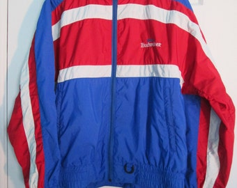 Team BUDWEISER Jacket, Men's Large ~ Vintage, Racing, Pit Crew, Red, White, Blue, Lightweight Coat