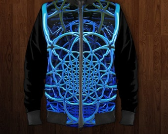 Bomber Jacket, Flower of life Bomber jacket, Flight jacket, Blazer, Varcity Jacket, Zip up Jumper, black and blue Jacket, Festival Coat