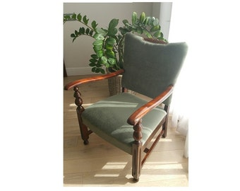 Vintage armchair classic fluffy olivegreen