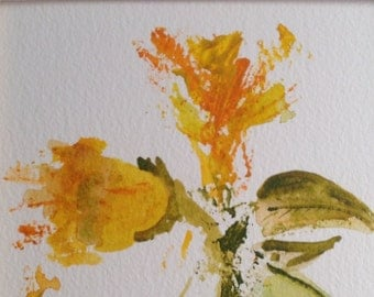 Yellow flower, original watercolour, painting, abstract, abstract flowers,