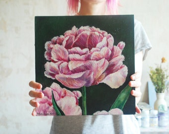 Original acrylic painting| Acrylic painting on canvas| Floral painting| Acrylic painting| TULIPA