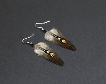 Fall feather earrings, native american earring, natural feather earring, boho earring, fall colors, hippie earrings, indian earrings, tribal