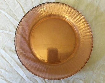 Vintage Fortecrisa Mexico Pink Glass Dinner Plates