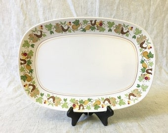 Vintage Noritake Progression Homecoming Oval Meat Platter, Country Kitchen Fruits and Partridge Dishes, Autumn Dinnerware