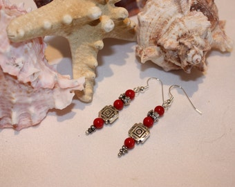 red coral earrings with antiqued silver accents