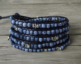 boho bead wrap bracelet Skull wrap bracelet frost Agate bead bracelet navy wrap bracelet boho leather wrap braclet men wrap bracelet SL-0255