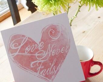 Bible verse greeting card - Love Never Fails