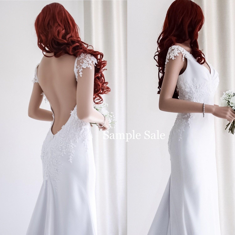 Unique wedding dress sample sale backless wedding dress for Unusual wedding dresses for sale