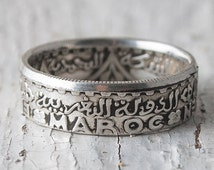 Coin Jewelry, double sided coin ring, Morocco, 100 francs, 1953, milestone coin ring, anniversary gift, genuine silver coins, unisex rings