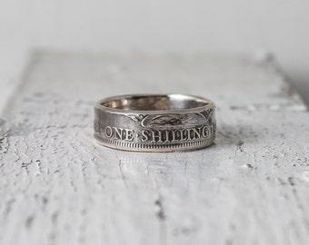 Great Britain Silver Coin Ring, 1 Shilling, 1927–1946, double sided, coin jewelry, tails out, various countries coins, couple ring set