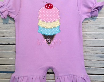 Girls Lavendar Appliqued Ruffle Romper, Includes Ice Cream Cone Applique and Personalization