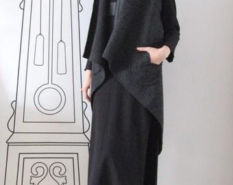 Extravagant Wool Vest/Deconstructed Back/Irregular Wool Vest/Dark Gray Wool Vest/Outerwear by FabraModaStudio/FAB406