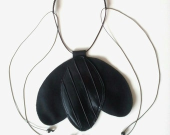 FREE SHIPPING / Black Tulip Necklace / Cashmere+Leather Necklace / Macrame / Gift Idea by FabraModaStudio / A912