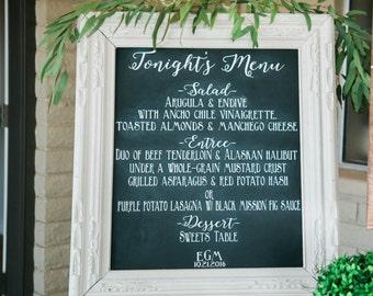 Wedding Chalkboard Menu, Chalkboard wedding menu chalk Menu,  elegant menu Wedding sign, Wedding Chalkboard,