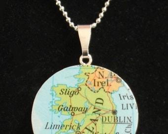 Ireland Handmade Recycled Map Pendant Necklace