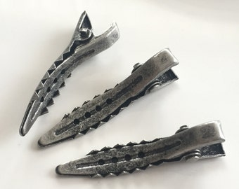15 pcs 7x37 mm Silver Antique  brass Alligator Hair Clips