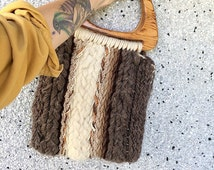 VTG 70's Chunky Knit Purse - Macrame Handbag
