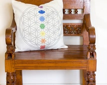 Flower of Life Cushion, Flower of Life Pillow, Chakra Pillow, Chakra Cushion, Flower of Life Decor, Chakra Decor, Sacred Geometry | CUS002