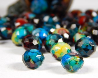 20 Pcs - 6x8mm Marble Picasso Glass Beads - Multicolor - Blue - Blue/Green - Faceted - Rondelle - Jewelry Supplies