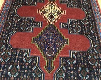 3' x 4' Persian Sanandaj Oriental Rug - Hand Made - 100% Wool