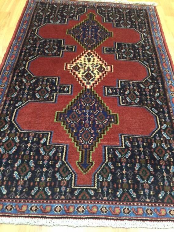 "2'6"" x 3'10"" Persian Sanandaj Oriental Rug - Hand Made - 100% Wool"