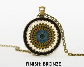 earth MANDALA Necklace, mandala Jewelry, mandala gift for women handmade, silver bronze black mandala Pendant chain jewelley 026