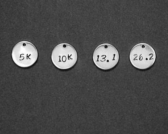 Sterling Silver Charm - 5K charm - 10K Charm - Half Marathon Charm - Marathon Charm - 13.1 Charm - 26.2 Charm - Hand Stamped Charm - Jewelry