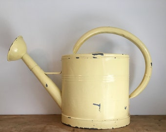 French Vintage Rustic Galvanised Large Buttercup Yellow Watering Can