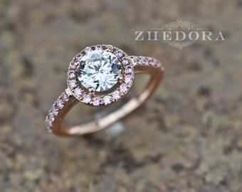 Halo Round Engagement Ring with Pink Stone In 14k Rose Gold Bridal Bridal, 2.30 TCW , Halo Ring, Anniversary Ring, Proposal Ring