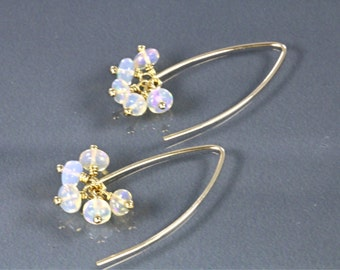 Ethiopian Opal Cluster Dangle Gold-filled Earrings, Welo Opal Earrings