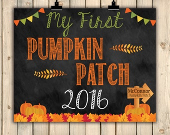 My First Pumpkin Patch Visit Chalkboard Sign, Photo Prop, 1st Time to Pumpkin Patch, Kids, Fall, Baby's First Visit, Holiday, 2016, DIGITAL