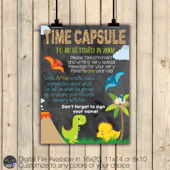 First Birthday Boy Party Loot Bag Single: Boy Dinosaur Birthday Dinosaur Time Capsule Sign Dinosaur