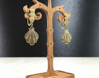 Vintage Art Deco, Vintage Art Nouveau, Art Nouveau Earrings, Art Deco Earrings, Brass Art Nouveau, Brass Art Deco, Brass Screw Backs