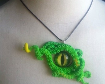 Tentacle Glow in the dark Dragon eye Necklace