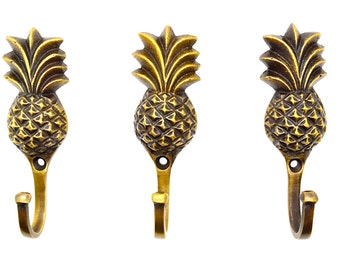 Pineapple hook gift, x1. wall door hooks,.Clothes coat hooks.flamingo decor,Vintage retro brass.knobs and pulls,pineapple decor