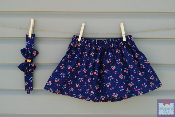 Skirt and headband - all - purple (baby and toddler) girl with small flowers
