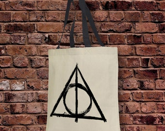 Deathly Hallows Tote Bag  10 oz Natural Cotton Canvas with Bottom Gusset. Great For Gym, Yoga, HP Worlds, Diagon Alley!