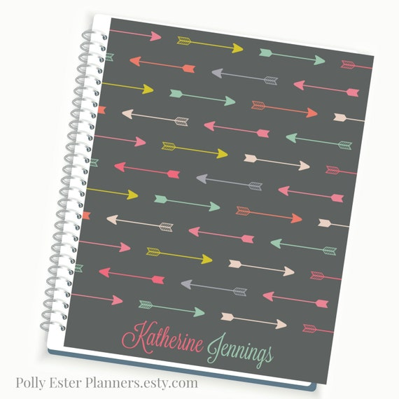 Calendar Planner Cover : Daily planner personalized multi color arrow