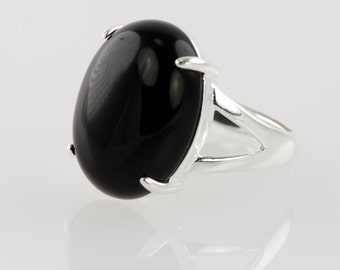 Black Onyx Oval Ring, Adjustable Size, Sterling Silver Base, Semi Precious Stone, Statement Ring